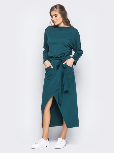 """Зеленое платье с рукавом """"летучая мышь"""" и карманами - 15709, фото 1 – интернет-магазин Dressa"""