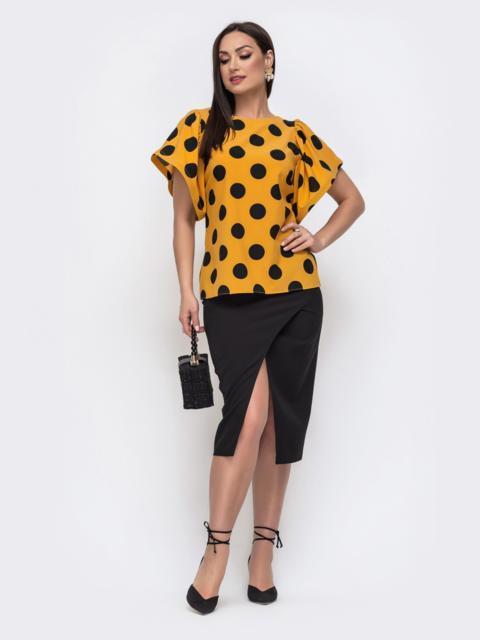 Желтый комплект батал из блузки в горох и юбки - 46315, фото 1 – интернет-магазин Dressa