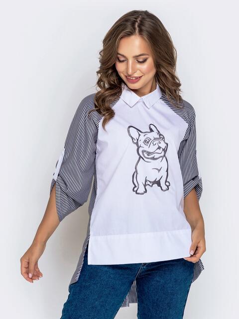 Белая рубашка в полоску с вышивкой и рукавом-реглан - 40836, фото 1 – интернет-магазин Dressa