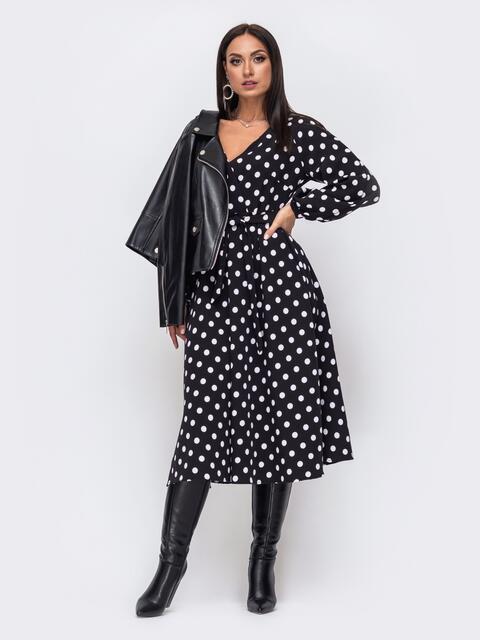 Чёрное платье батал в горох с расклешеной юбкой 51504, фото 1