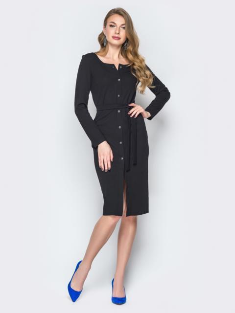 Чёрное платье-футляр на пуговицах с поясом - 20031, фото 1 – интернет-магазин Dressa