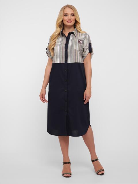 Чёрное платье-рубашка большого размера с карманами  - 48576, фото 1 – интернет-магазин Dressa