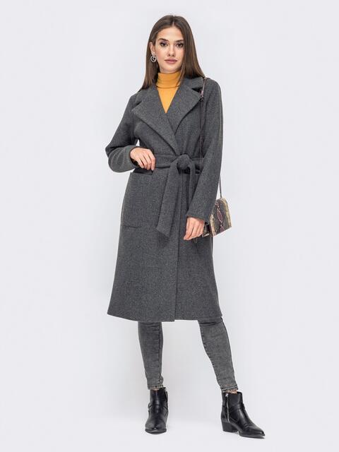 Демисезонное пальто на запах с накладными карманами серое - 41439, фото 1 – интернет-магазин Dressa