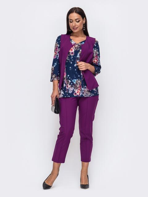Комплект-тройка большого размера с брюками фиолетовый 51503, фото 1