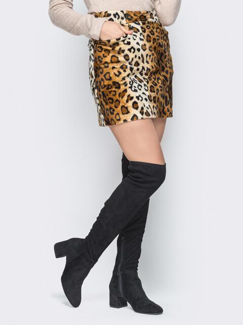 Леопардовая мини-юбка из эко-меха с карманами 19319, фото 1