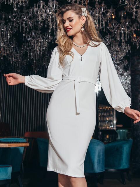 Обтягивающее платье с манжетом на резинке белое - 42621, фото 1 – интернет-магазин Dressa