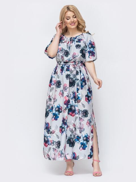 Платье-макси большого размера с принтом и разрезами по бокам серое 46399, фото 1