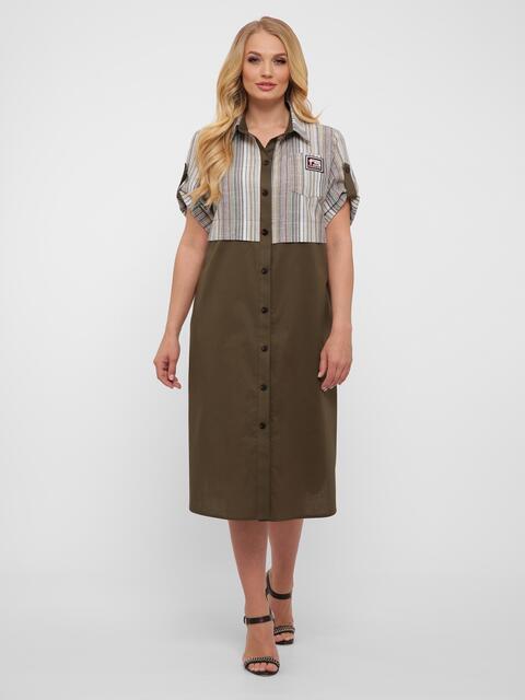 Платье-рубашка большого размера цвета хаки с карманами - 48578, фото 1 – интернет-магазин Dressa