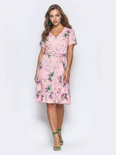 Розовое платье на запах с принтом и резинкой на талии 14071, фото 1