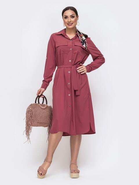 Розовое платье-рубашка большого размера со шлевками на рукавах 46395, фото 1