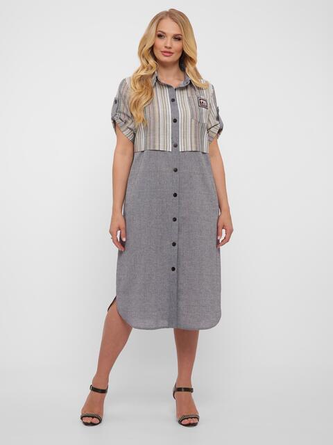 Серое платье-рубашка большого размера с карманами  - 48577, фото 1 – интернет-магазин Dressa