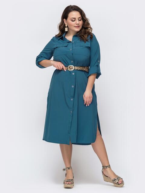 Синее платье-рубашка большого размера со шлевками на рукавах 46204, фото 1