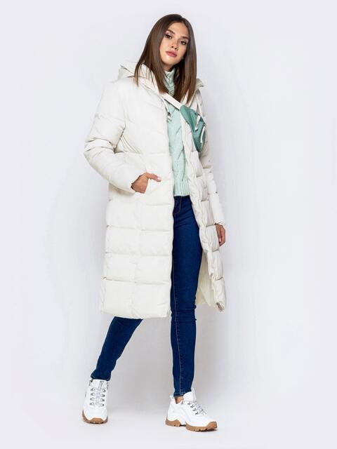 Стёганая куртка молочного цвета со вшитым капюшоном - 40900, фото 1 – интернет-магазин Dressa