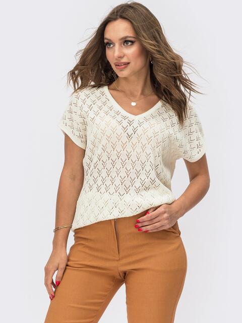 Ажурный пуловер с коротким рукавом белый 54092, фото 1