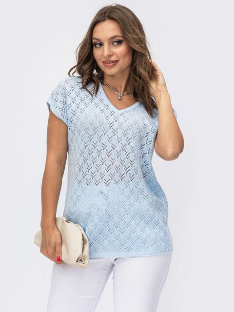 Ажурный пуловер с коротким рукавом голубой 54093, фото 1