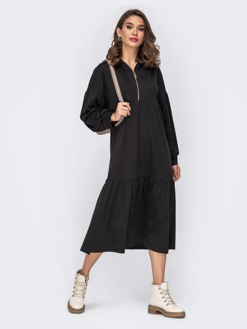 Чёрное платье со пущенной линией плеч и капюшоном 42347, фото 1