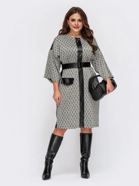 Свободное платье большого размера с контрастной планкой серое 55537, фото 1