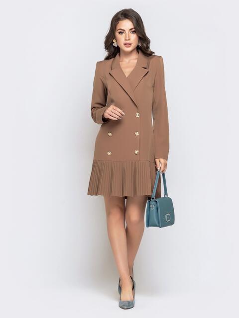 Двубортное платье-пиджак с плиссированной юбкой бежевое 40620, фото 1
