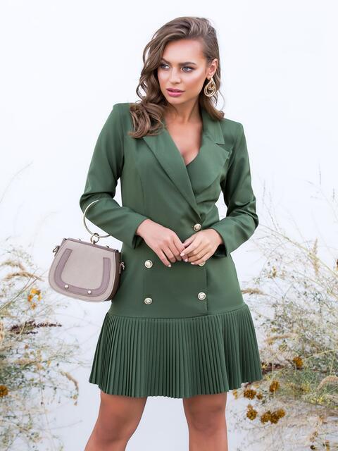Двубортное платье-пиджак с плиссированной юбкой хаки - 40618, фото 1 – интернет-магазин Dressa