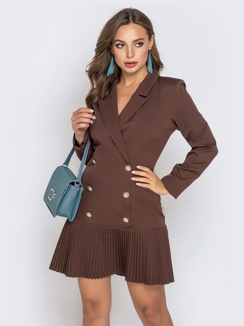 Двубортное платье-пиджак с плиссированной юбкой коричневое - 40619, фото 1 – интернет-магазин Dressa