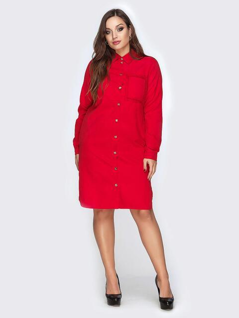 Красное платье-рубашка с гипюром на спинке - 19156, фото 1 – интернет-магазин Dressa