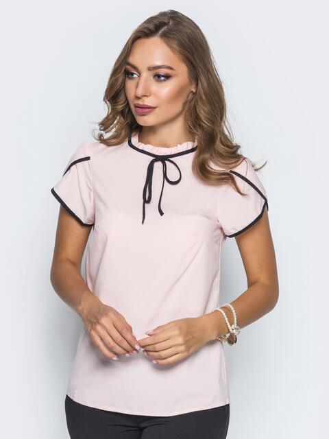 00f59f5ba49 Легкая блузка с пришитым бантиком пудровая - 14098