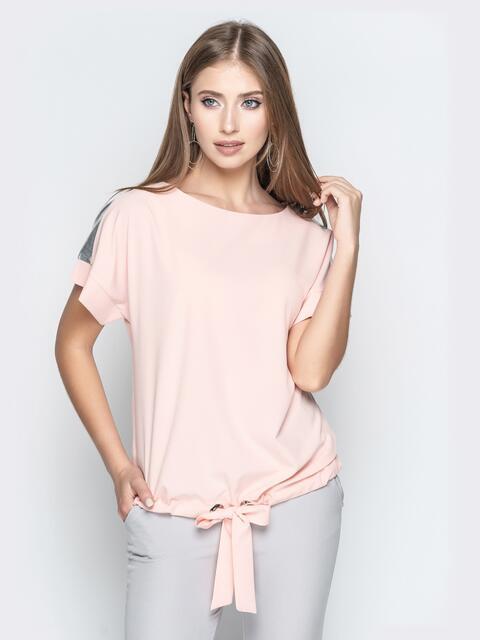 Пудровая блузка с кулиской по низу и контрастными вставками 20772, фото 1