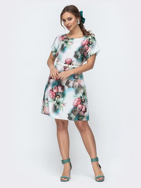 Расклешенное платье с цветочным принтом белое - 46932, фото 1 – интернет-магазин Dressa