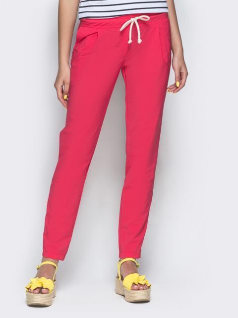 Розовые брюки из бенгалина с эластичной деталью в поясе 32885, фото 1