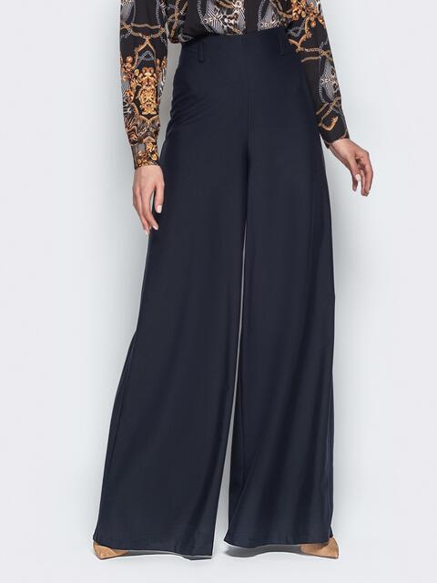 Широкие брюки-клёш с высокой посадкой чёрные - 20490, фото 1 – интернет-магазин Dressa
