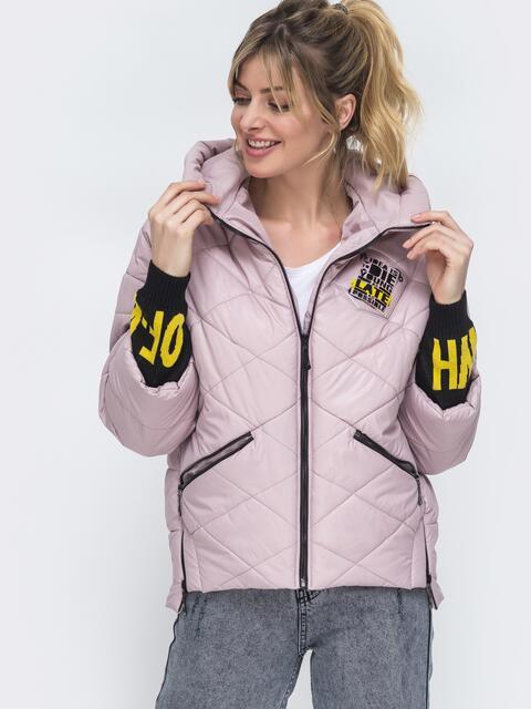 Укороченная куртка с трикотажными манжетами пудровая 45166, фото 1