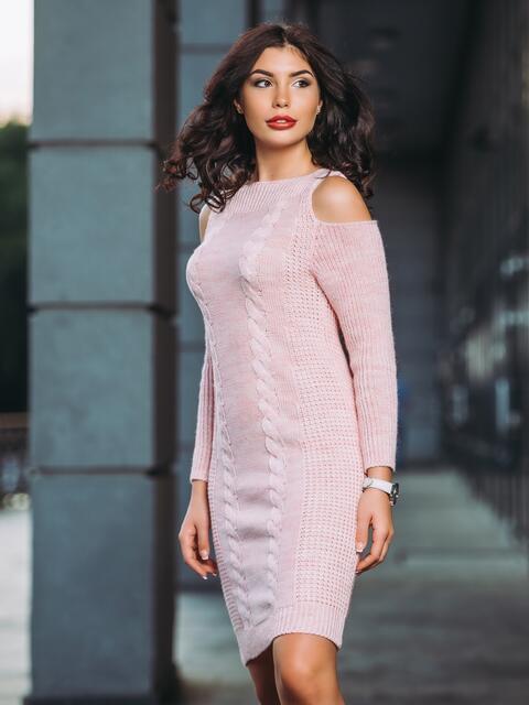 90f21bc92c40 Вязаное платье с открытыми плечами розовое - 13170, фото 1 –  интернет-магазин Dressa