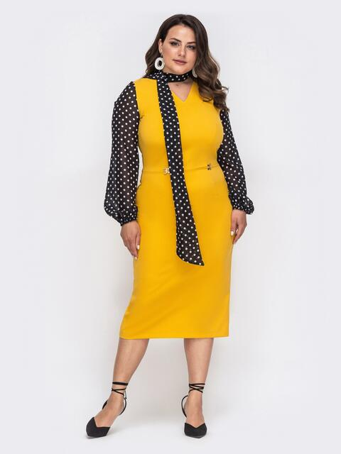 Желтое платье батал с рукавами из шифона в горох - 49870, фото 1 – интернет-магазин Dressa