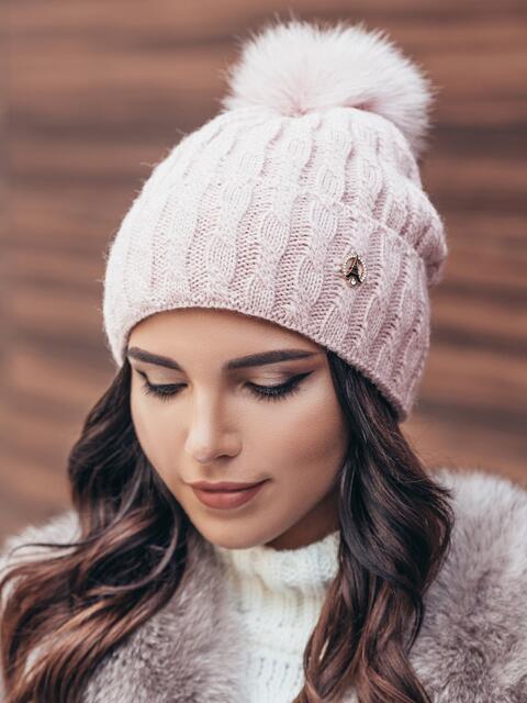 Зимняя шапка с отворотом розовая - 14717, фото 1 – интернет-магазин Dressa