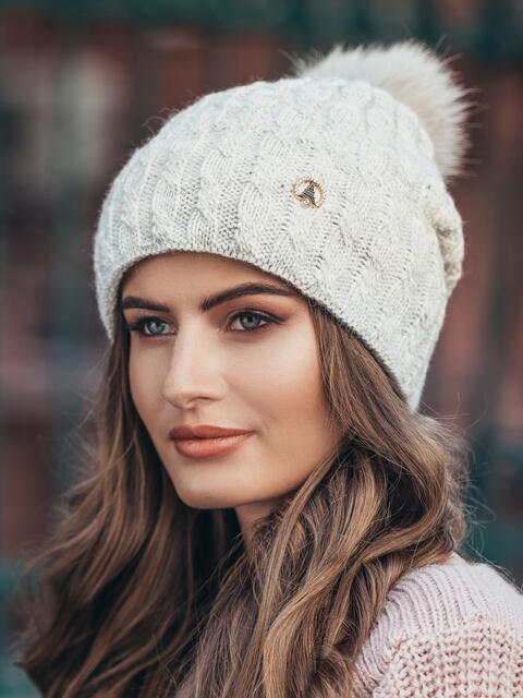 Зимняя шапка с отворотом серая - 14718, фото 1 – интернет-магазин Dressa