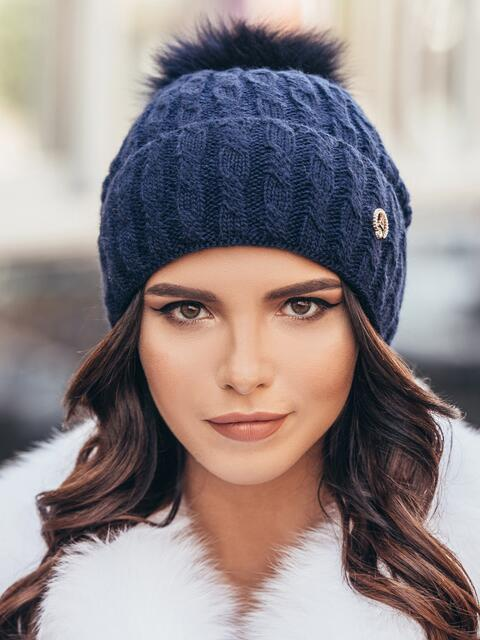 Зимняя шапка с отворотом темно-синяя - 14716, фото 1 – интернет-магазин Dressa
