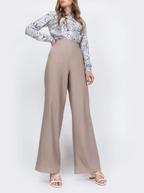 Бежевые брюки-клёш с высокой посадкой и карманам 48744, фото 1
