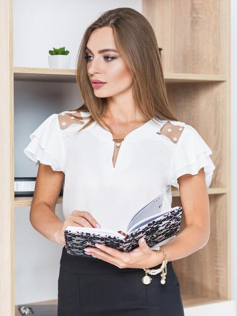 Блузка с кружевными вставками и оборкой на рукавах белая - 14236, фото 1 – интернет-магазин Dressa
