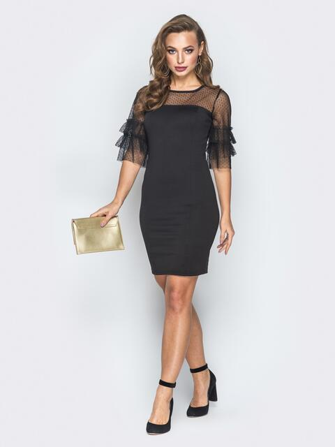 Черное платье с кокеткой в горошек и рукавами из фатина - 18658, фото 1 – интернет-магазин Dressa