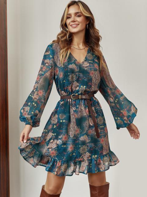Шифоновое платье-мини с принтом зеленое 55214, фото 1
