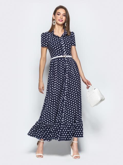 882ac6b5b6e Длинное платье-рубашка в горох с оборкой по низу синее 21838 ...