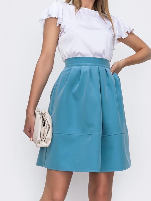 Голубая юбка полусолнце с бантовыми складками 49607, фото 1