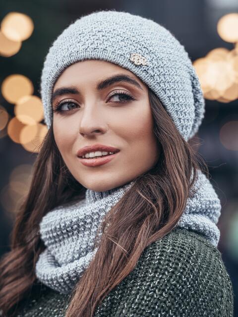 Комплект из шапки и хомута с пайетками серый - 15527, фото 2 – интернет-магазин Dressa