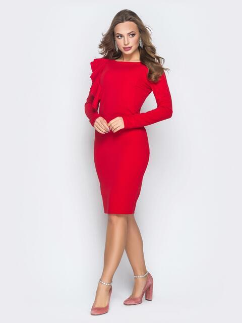Платье с ассиметричной оборкой красное - 18656, фото 1 – интернет-магазин Dressa