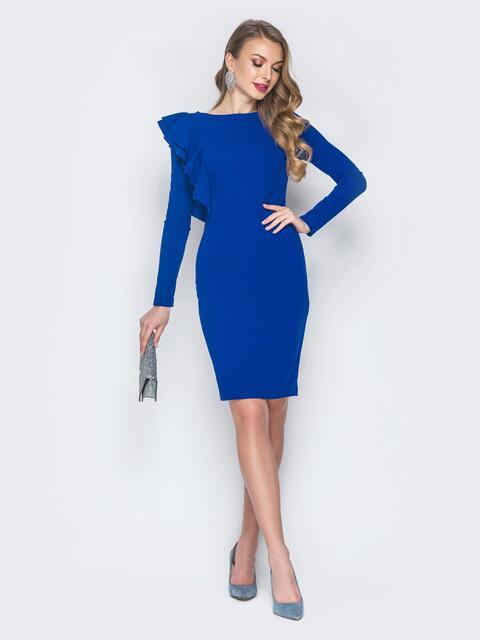 Платье с ассиметричной оборкой синее - 18822, фото 1 – интернет-магазин Dressa