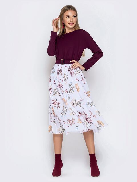 Платье с напуском по талии и принтованной юбкой бордовое - 40933, фото 1 – интернет-магазин Dressa