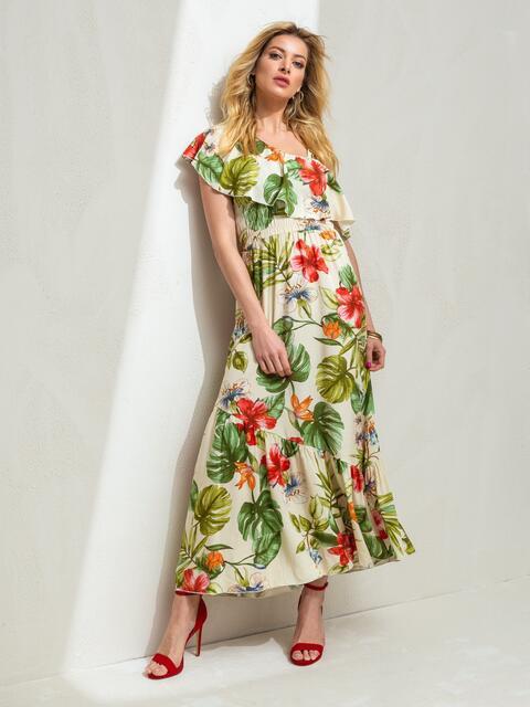 Платье с принтом и открытым плечом желтое 46868, фото 1