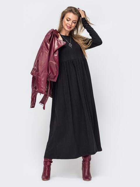Платье в пол с завышенной талией чёрное 51600, фото 1