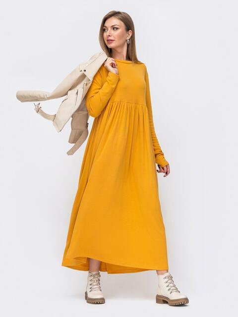 Платье в пол с завышенной талией желтое 51599, фото 1