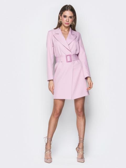 Розовое платье-пиджак с широким поясом - 20098, фото 1 – интернет-магазин Dressa